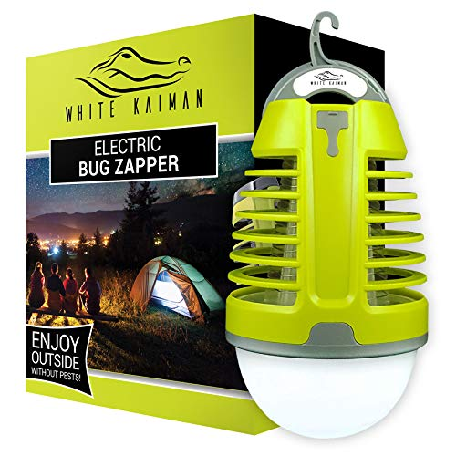 White Kaiman 2 in 1 Bug Zapper Outdoor - Rechargeable Waterproof Mosquito Killer Light Bulb for Indoors & Outdoors (Green 1000v)