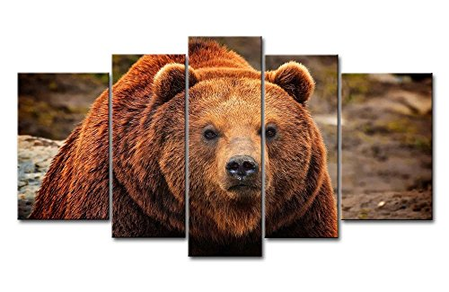 Brown 5 Piece Wall Art Painting Grizzly Bear Prints On Canvas The Picture Animal Pictures Oil For Home Modern Decoration Print Decor For Kitchen (Art Bear Canvas Wall)