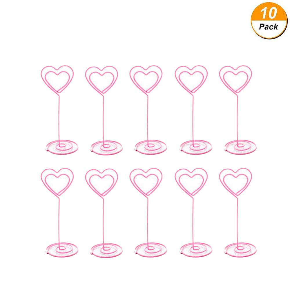 Healthcom 10 Pack Table Number Holder Place Card Holder Table Picture Holder Wire Photo Holder Clips Memo Note Photo Stand (Pink) (Love)