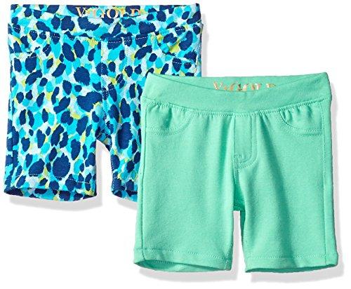 VIGOSS Girls' Toddler 2 Pack Bermuda Short, Blue/Green, ()