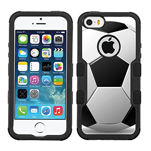 One Tough Shield  3-Layer Hybrid Case (Black/Black) for Apple iPhone 5C - (Soccer)