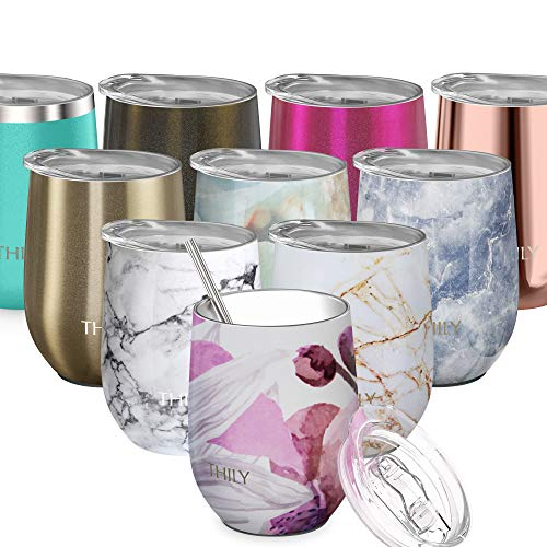 Stainless Steel Insulated Wine Tumbler - THILY Stemless Wine Glass with Lid and Straw, Spill Proof, Cute Travel Cup for Coffee, Wine, Cocktails, Gift for Women, Mother, Wife, Girls, Lotus Flower