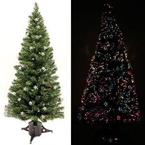 WeRChristmas 6 ft Pre-Lit Multi-Colour Fibre Optic Christmas Tree ...
