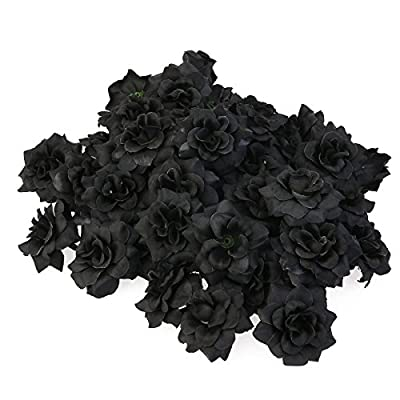 Tinksky 50pcs Silk Rose Flower Heads for Hat Clothes Album Embellishment Decoration (Black) by Tinksky