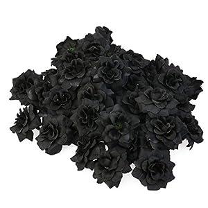 Tinksky 50pcs Silk Rose Flower Heads for Hat Clothes Album Embellishment Decoration (Black) 22