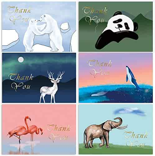 Thank You Cards Watercolor & Gold Foil Animals with Envelopes, 60 Count Thank You Notes Set Bulk, Blank Inside, 6 Designs of Endangered Species, Ideal for Baby Shower Graduation Party, 4 x 6 Inches