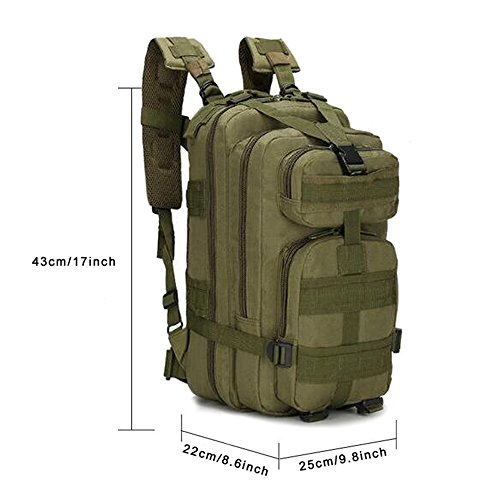 MINGPINHUIUS Tactical Backpack, Military Backpack 25L Army Rucksack MOLLE Assault Pack Tactical Combat Backpack for Outdoor Hiking Camping Trekking Fishing Hunting (Army Green) from MINGPINHUIUS