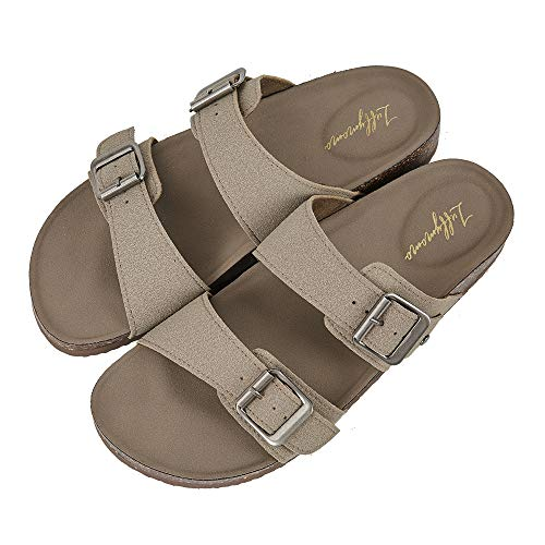 Double Strap Flats - LUFFYMOMO Womens Slide Sole Sandals Cork Footbed Adjustable Stap Buckle Sandals(9 M US Khaki)