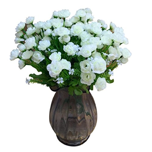 Carnation Daisy Bouquet (Ikevan 2pcs 20 Heads Artificial Carnations Silk Fake Flower Leaf Mother Presents Home Floral Mother's Day Decor (White))