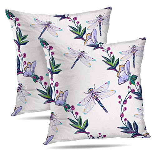 HAPPYOME Set of 2 Decorative Throw Pillow Covers Decorative Branch and Dragonfly Fashion with Summer Wild Nature BackdropPillow Case Cushion Cover for Bedroom Livingroom Sofa 18X18 Inches