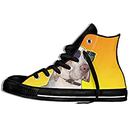 NAFQ Dog Sunglasses Funny Animal Classic Canvas Sneakers Shoes Lace Up Unisex High Top
