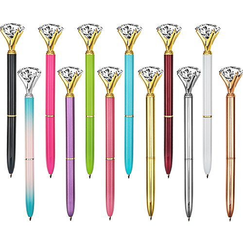 Bememo 12 Pieces Big Diamond Pen Rhinestones Crystal Metal Ballpoint Pens Black Ink (12 Different Colors)