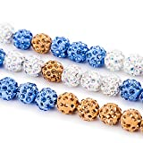 300Pcs Crystal Rhinestone Beads, Pave Disco Ball Beads Mixed Color Crystal Rhinestones for Bracelets, Earring, Necklace Charms Jewelry Makings, Hair Flower DIY Craft Wedding Party Decoration (8mm)