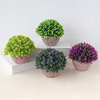 Namgiy Potted Plant Artificielle Plantes Faux Artificiel Fleur Truque Bonsai Lherbe Verte Simulation Verdure Arbre pour D/écoration de la maison