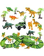 Dinosaur Track Toy Set 153 PCS, Flexible Race Track Playset with Tracks, Create a Dinosaur Track, Dinosaur Toy for Kids Boys Girls Children Over 3 Years Old