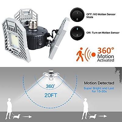 Led Garage Lights Motion Activated 60W 6000LM CRI 80 Led Shop Light with 3 Adjustable Panels for Garage Workshop Basement etc.