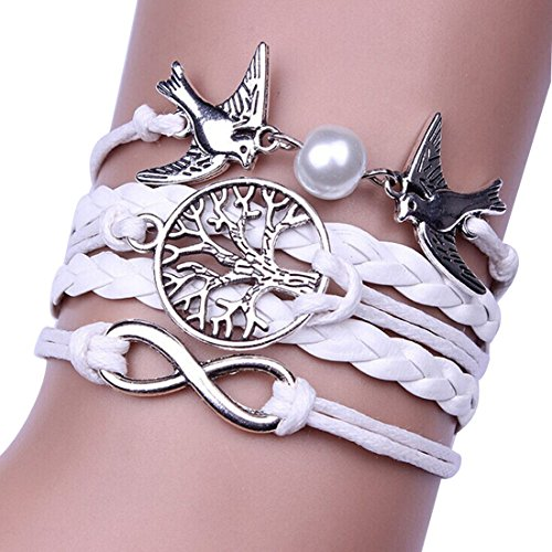 Sunnywill Unendlichkeit Taube Leder mehrschichtigen Armband Armband handgefertigt einstellbar