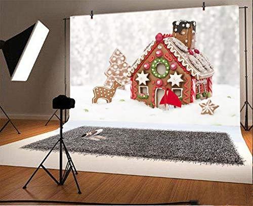 Leowefowa Gingerbread House Bokeh Backdrop 5x3ft Vinyl Photography Backgroud Sunshine Snow Field Pine Tree Elk Snowflake Handmade Dessert Christmas Decoration Chidren Party
