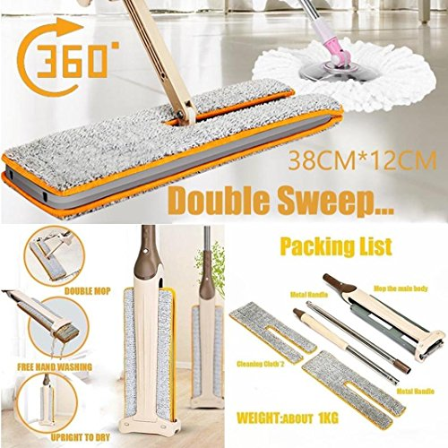 DZT1968 Useful Double-Side 130cm Flat Mop Hands-Free 12x38cm Washable Mop Home Cleaning Tool (Of Christmas Apron Wines 12)