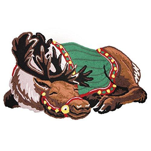 Small Hooked Rug (Sleeping Reindeer Hooked Area Rug)