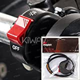 KiWAV Motorcycle black fog light switch 1 inch 25mm handlebar 12v DC electrical system
