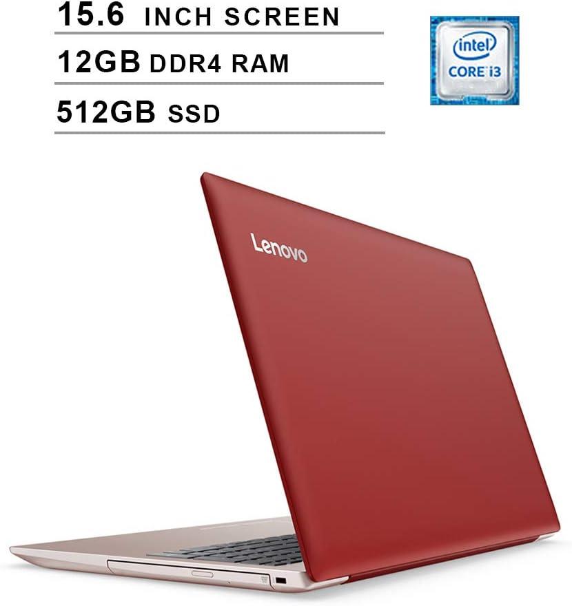 Lenovo IdeaPad 330 Newest 15.6 Inch Flagship Premium Laptop - Intel Core i3-8130U Up to 3.4GHz, Intel UHD 620, 12GB DDR4 RAM, 512GB SSD, WiFi, Bluetooth, HDMI, Windows 10, Red