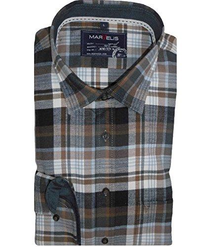 Marvelis Camicia Per Il Tempo Libero Camicia Casual a maniche lunghe flanella marrone/bianco a quadri 6058.64.28