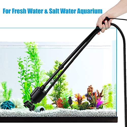 AQQA Aquarium Gravel Cleaner, 5-in-1 Electric Fish Tank Gravel Vacuum Cleaner Set for Absorb Dirt, Change Water, Wash Sand, Water Shower, 20W, 320GPH