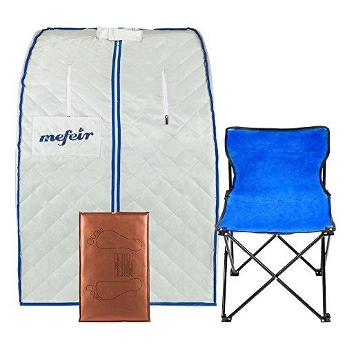 Mefeir Portable Far Infrared Home Spa Sauna, Full Body Slimming Loss Weight, Healthy Detox Therapy One Person, w/Enlarged Folding Chair (Far Infrared)