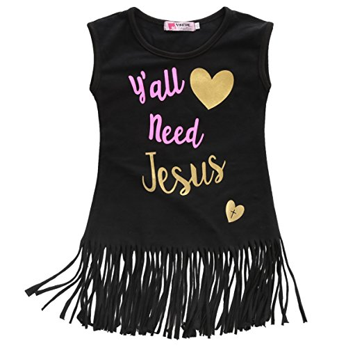 Magical Baby Little Girls Sleeveless Love Heart Yall Need Jesus Tassel Dress