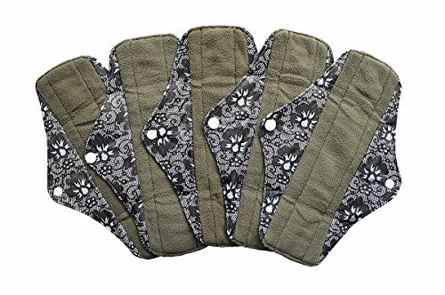 5 Pieces Charcoal Bamboo Mama Cloth/ Menstrual Pads/ Reusable Sanitary Pads (Regular (10 inch), Black (Lace Pads)
