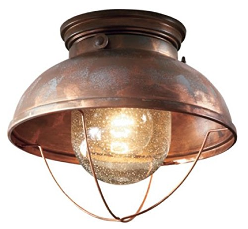 ceiling lodge rustic country western weathered copper light fixture
