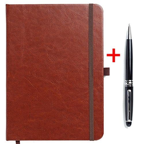 Diary Journal Notebook Leather in Style Writing Book A5 - 160 Pages with a Black Ballpoint Rolling Pen by Silk Road Wholesale