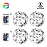 EECOO Submersible LED Lights,RGB Waterproof IP68 Underwater Vase Tea Lights with IR Remote Control, LED Pond Pool Aquarium Fish Tank Lighting for Hot Tub Vase Base Fountain Light Decoration Lamp For Wedding Christmas Halloween Festival Birthday Party