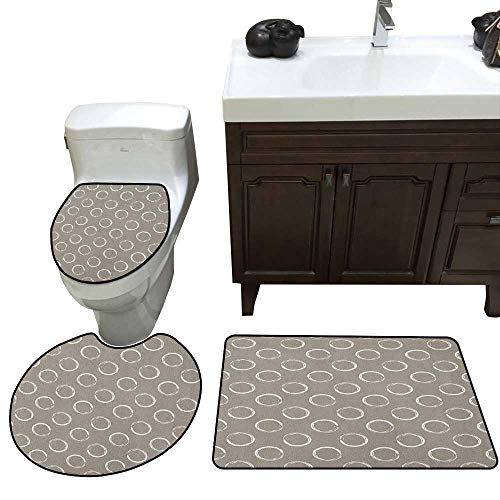 Taupe Bath mat Set with Toilet Cover Simple Artistic Pattern Ring Shapes Grungy Display with Brushstrokes Vintage Style Toilet Carpet Floor mat Set Taupe White