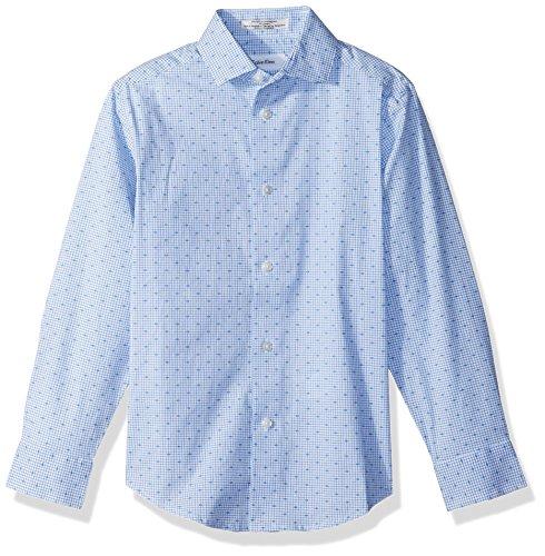 Woven Boys Shirt - Calvin Klein Boys' Big Long Sleeve Dobby Woven Shirt, Academy Blue, 10