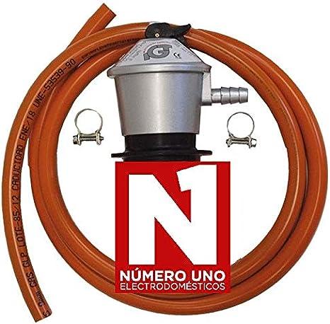 Regulador de gas butano HVG, tubo manguera 0,8 metros, abrazaderas ...