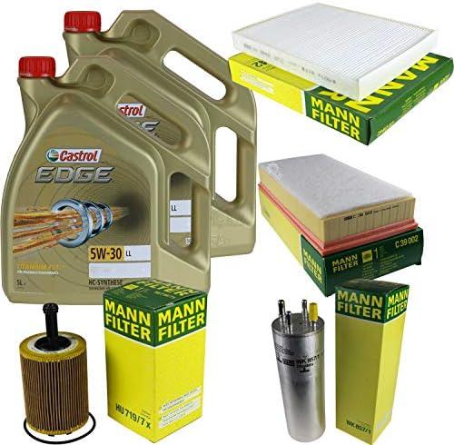 Filter Set Inspektionspaket 10 Liter Motoröl Castrol EDGE Titanium FST 5W-30 LL MANN-FILTER Innenraumfilter Kraftstofffilter Luftfilter Ölfilter