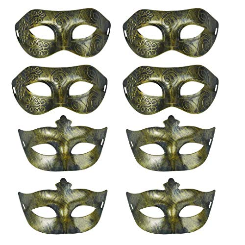 8PCS Retro Masquerade Masks Mardi Gras Costume Party Accessory Half Face Carnival Decoration(Golden) by Fiphie