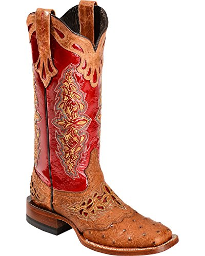 Lucchese Women's Handcrafted 1883 Amberlyn Full Quill Ostrich Cowgirl Boot Tan 8 M (Womens Full Quill Ostrich Boot)