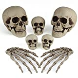 KUUQA 7 Pcs Halloween Bones Decorations Skeleton Skull Heads and Skeleton Hands for Halloween Graveyard Decor Party Supplies
