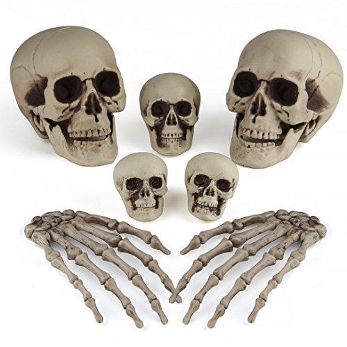 Halloween Bones Decoration (Kuuqa 7 Pcs Halloween Bones Decorations Skeleton Skull Heads and Skeleton Hands for Halloween Graveyard Decor Party Supplies)