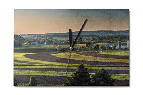 (Lantern Press Sunset in Amish Country (10x15 Wood Wall Clock, Decor Ready to Hang))