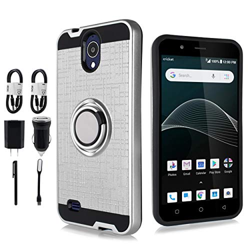 At&t Axia Case, Cricket Vision Case, 6goodeals, Shockproof TPU Ring Kickstand Magnetic Car Mount Cover [Accessories Bundle] (Silver)