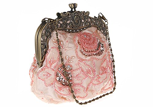 Handbag Antique Evening Beaded Women's Vintage ILISHOP Rose Purse Clutch Party Champagne PSzqCwgx