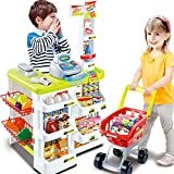 BJLWTQ Large Supermarket Market Pretend Play Cash Register Trolley Set Toys for Kids Children, Simulation Light and Sound (Color : Yellow)
