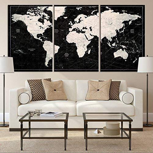 Amazoncom World Map Wall Art By Sami Eymur 3 Piece Multi Panel X