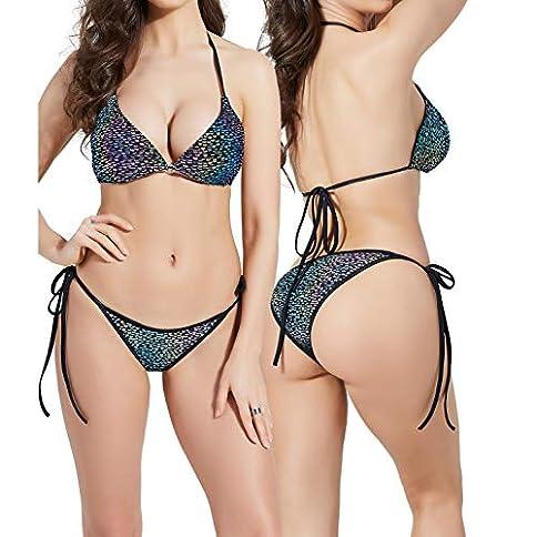 - 510zf 2BabMTL - AKFLY Reflective Bikini Swimsuits for Women Triangle Bikini Top Halter Swimwear