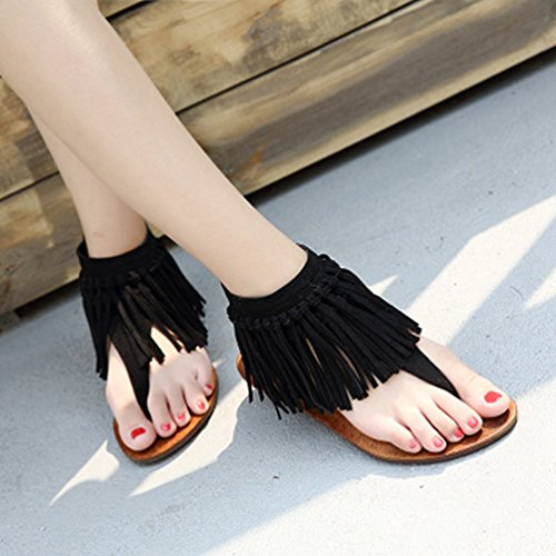 Femmes Summer String Gland JRenok Flat Sandales Black Beach Noir Tongs Frange Brown Zip Comfort Sandales TxwRgp