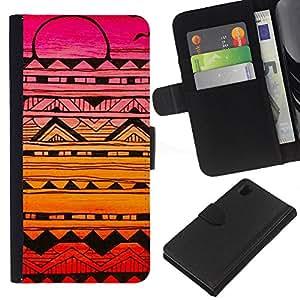 Sony Xperia Z1 / L39h / C6902 Modelo colorido cuero carpeta tirón caso cubierta piel Holster Funda protección - Handmade Sunset Drawing Ink Pink